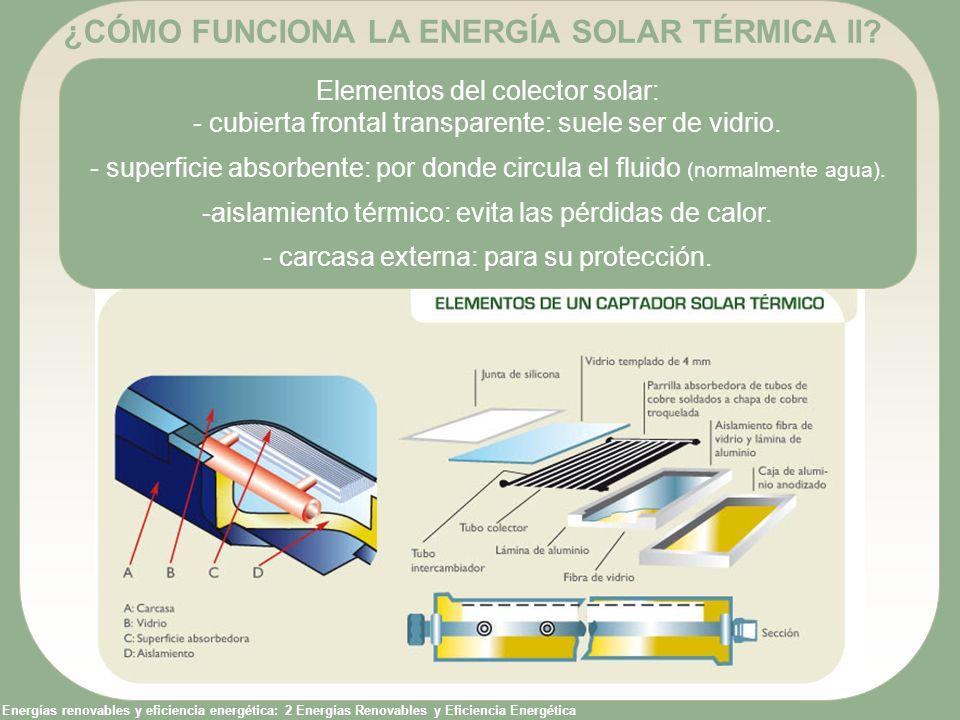 Energías renovables y eficiencia energética: 2 Energías Renovables y Eficiencia Energética ¿CÓMO FUNCIONA LA ENERGÍA SOLAR TÉRMICA II? Elementos del c