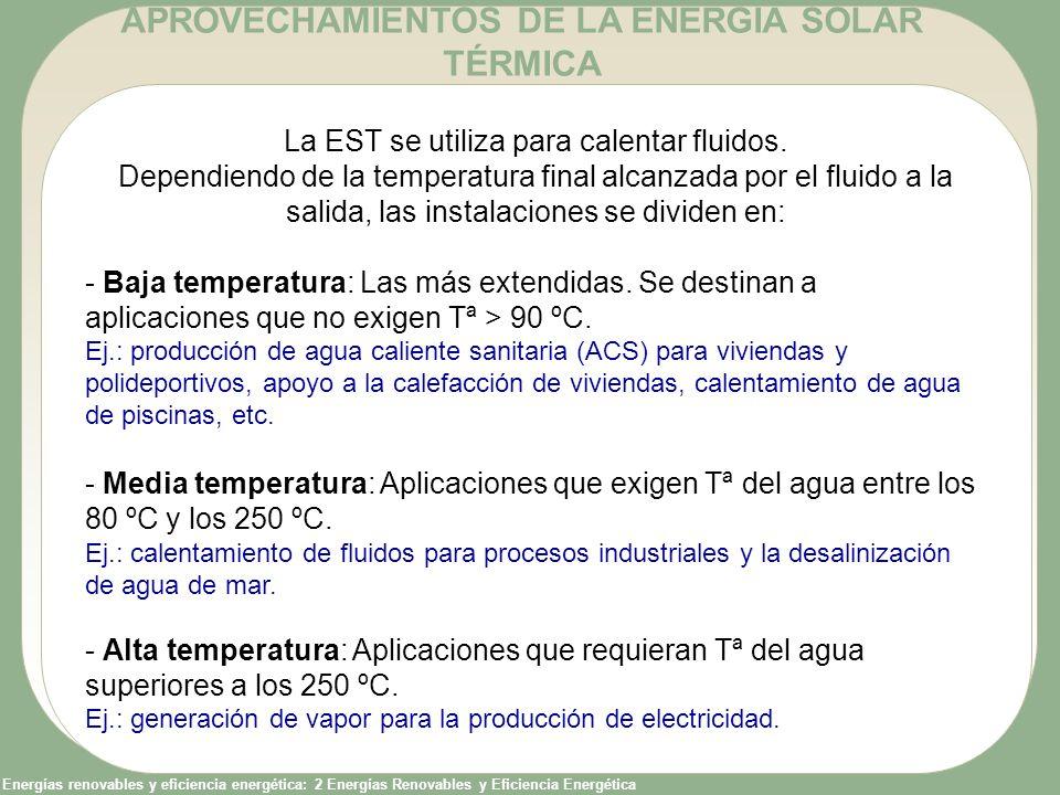 Energías renovables y eficiencia energética: 2 Energías Renovables y Eficiencia Energética La EST se utiliza para calentar fluidos. Dependiendo de la
