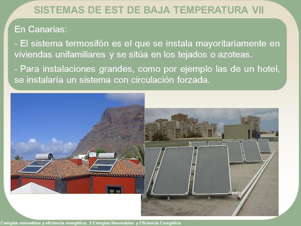 Energías renovables y eficiencia energética: 2 Energías Renovables y Eficiencia Energética SISTEMAS DE EST DE BAJA TEMPERATURA VII En Canarias: - El s