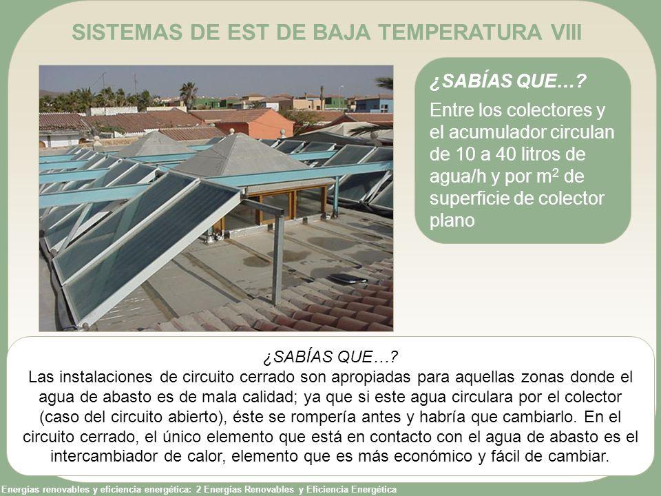 Energías renovables y eficiencia energética: 2 Energías Renovables y Eficiencia Energética SISTEMAS DE EST DE BAJA TEMPERATURA VIII ¿SABÍAS QUE…? Entr