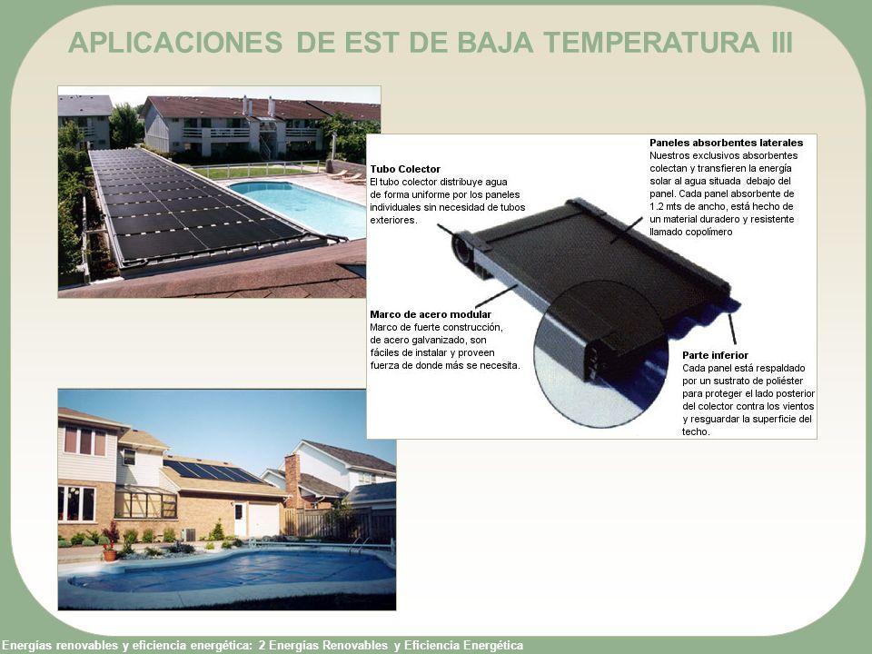 Energías renovables y eficiencia energética: 2 Energías Renovables y Eficiencia Energética APLICACIONES DE EST DE BAJA TEMPERATURA III