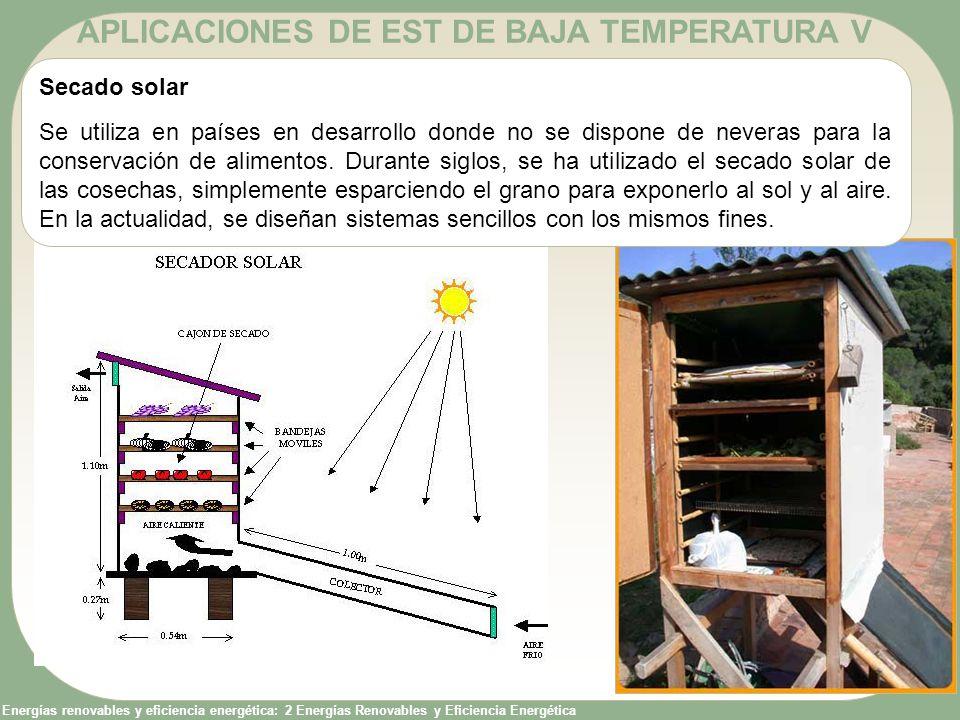 Energías renovables y eficiencia energética: 2 Energías Renovables y Eficiencia Energética APLICACIONES DE EST DE BAJA TEMPERATURA V Secado solar Se u