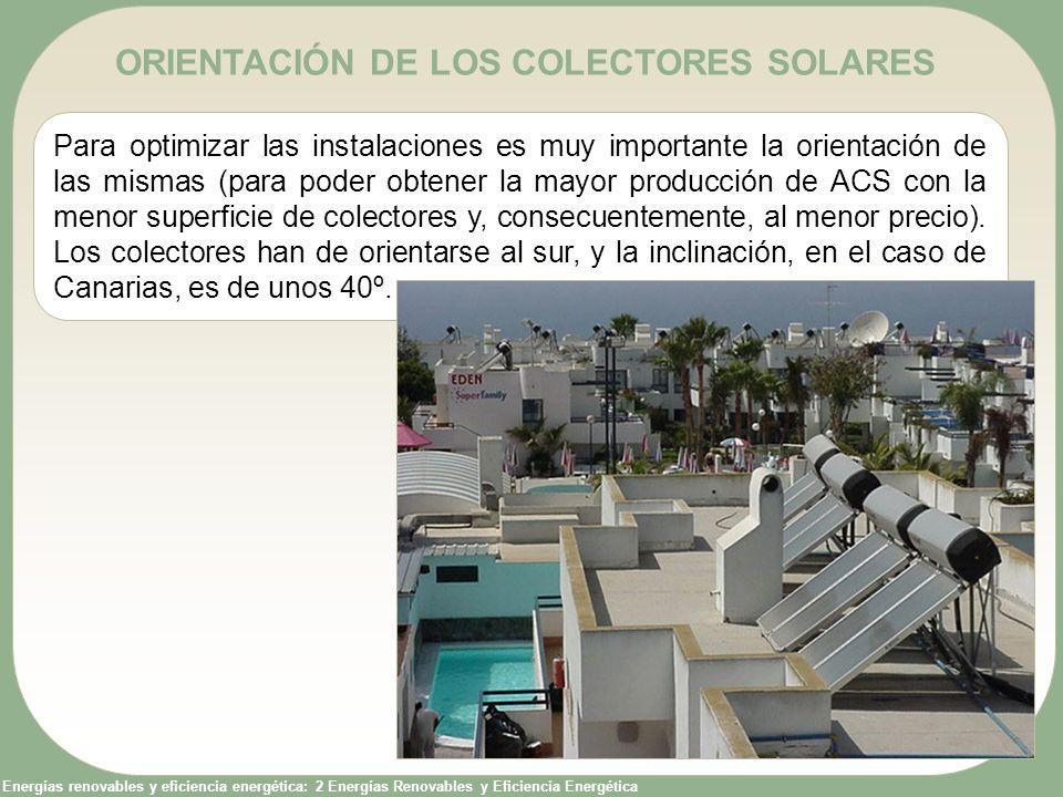 Energías renovables y eficiencia energética: 2 Energías Renovables y Eficiencia Energética ORIENTACIÓN DE LOS COLECTORES SOLARES Para optimizar las in