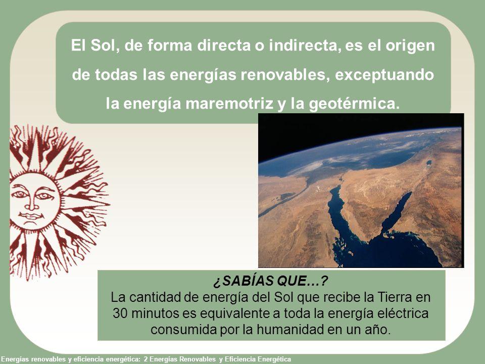 Energías renovables y eficiencia energética: 2 Energías Renovables y Eficiencia Energética El Sol, de forma directa o indirecta, es el origen de todas