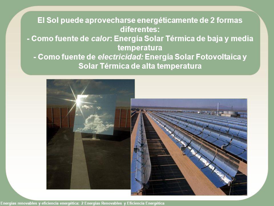 Energías renovables y eficiencia energética: 2 Energías Renovables y Eficiencia Energética El Sol puede aprovecharse energéticamente de 2 formas difer