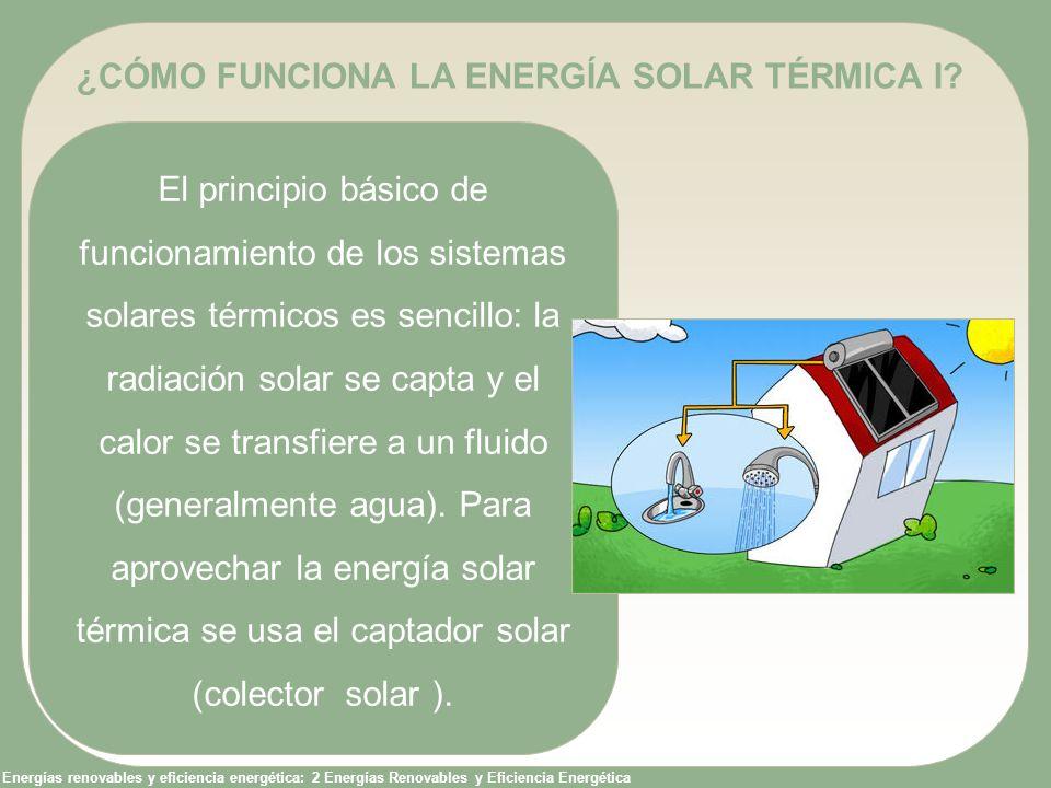 Energías renovables y eficiencia energética: 2 Energías Renovables y Eficiencia Energética ¿CÓMO FUNCIONA LA ENERGÍA SOLAR TÉRMICA II.