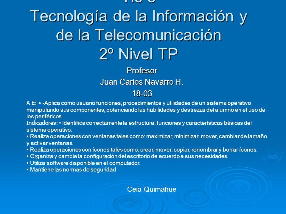 Tic´s Tecnología de la Información y de la Telecomunicación 2º Nivel TP Profesor Juan Carlos Navarro H. 18-03 A E: -Aplica como usuario funciones, pro