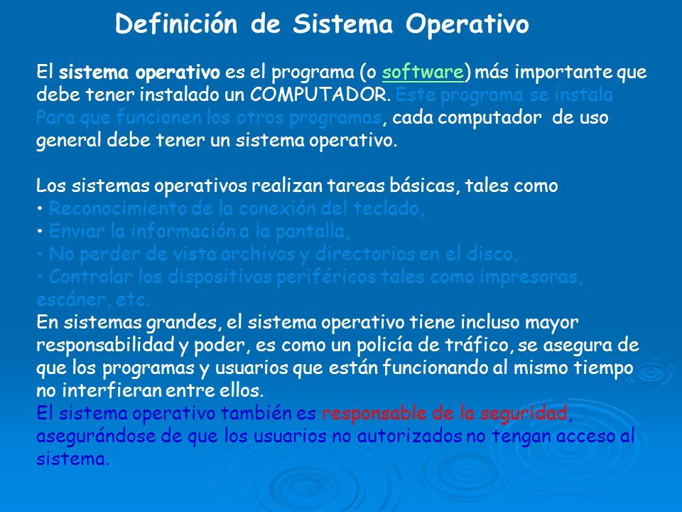 El sistema operativo es el programa (o software) más importante que debe tener instalado un COMPUTADOR. Este programa se instala Para que funcionen lo