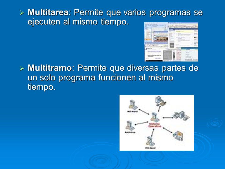 Multitarea: Permite que varios programas se ejecuten al mismo tiempo. Multitarea: Permite que varios programas se ejecuten al mismo tiempo. Multitramo
