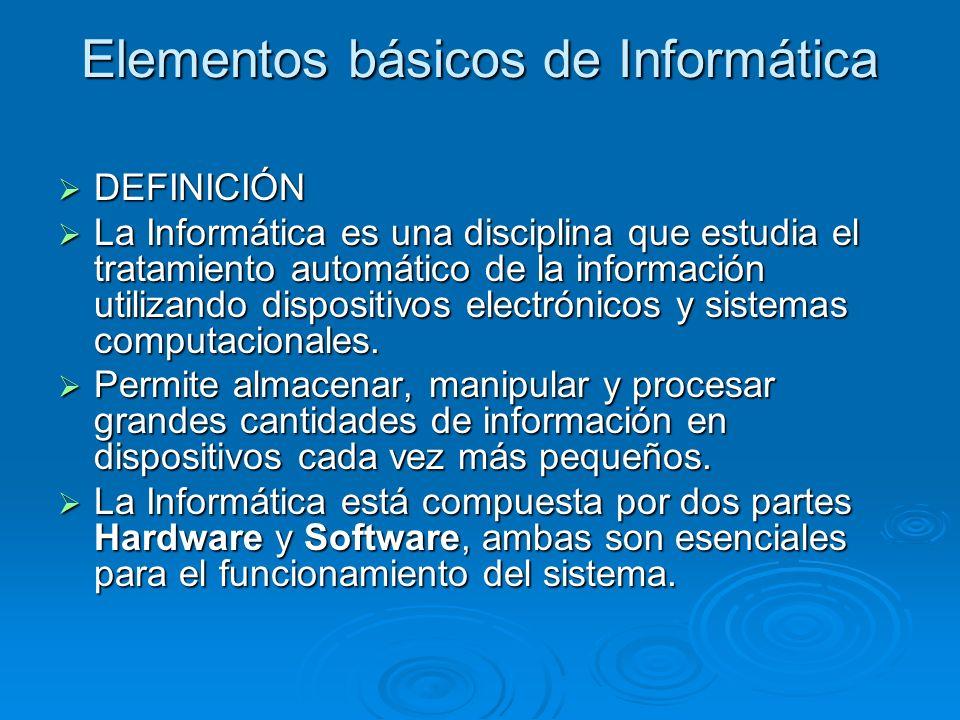 Elementos básicos de Informática DEFINICIÓN DEFINICIÓN La Informática es una disciplina que estudia el tratamiento automático de la información utiliz