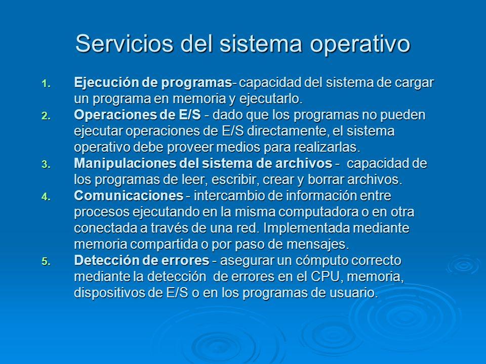 Servicios del sistema operativo 1. Ejecución de programas- capacidad del sistema de cargar un programa en memoria y ejecutarlo. 2. Operaciones de E/S