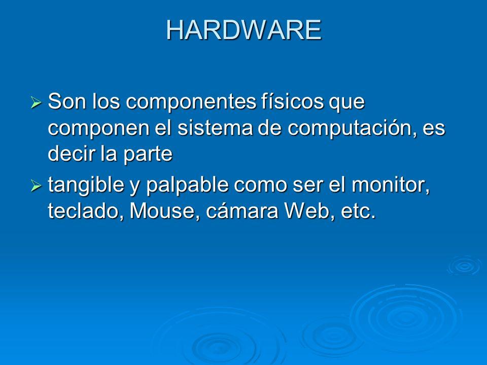 HARDWARE Son los componentes físicos que componen el sistema de computación, es decir la parte Son los componentes físicos que componen el sistema de