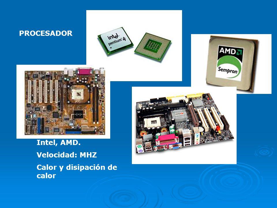 PROCESADOR Intel, AMD. Velocidad: MHZ Calor y disipación de calor