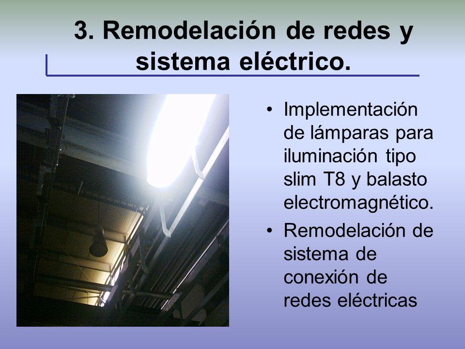 3. Remodelación de redes y sistema eléctrico. Foto Implementación de lámparas para iluminación tipo slim T8 y balasto electromagnético. Remodelación d