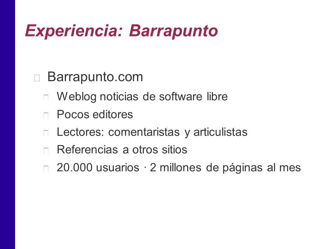 Experiencia: Barrapunto Barrapunto.com Weblog noticias de software libre Pocos editores Lectores: comentaristas y articulistas Referencias a otros sitios 20.000 usuarios · 2 millones de páginas al mes