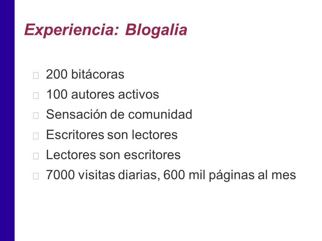 Experiencia: Blogalia 200 bitácoras 100 autores activos Sensación de comunidad Escritores son lectores Lectores son escritores 7000 visitas diarias, 600 mil páginas al mes