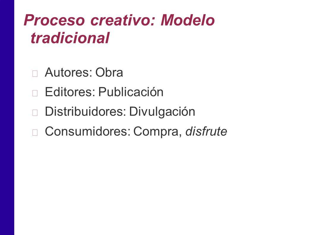 Proceso creativo: Modelo tradicional Autores: Obra Editores: Publicación Distribuidores: Divulgación Consumidores: Compra, disfrute