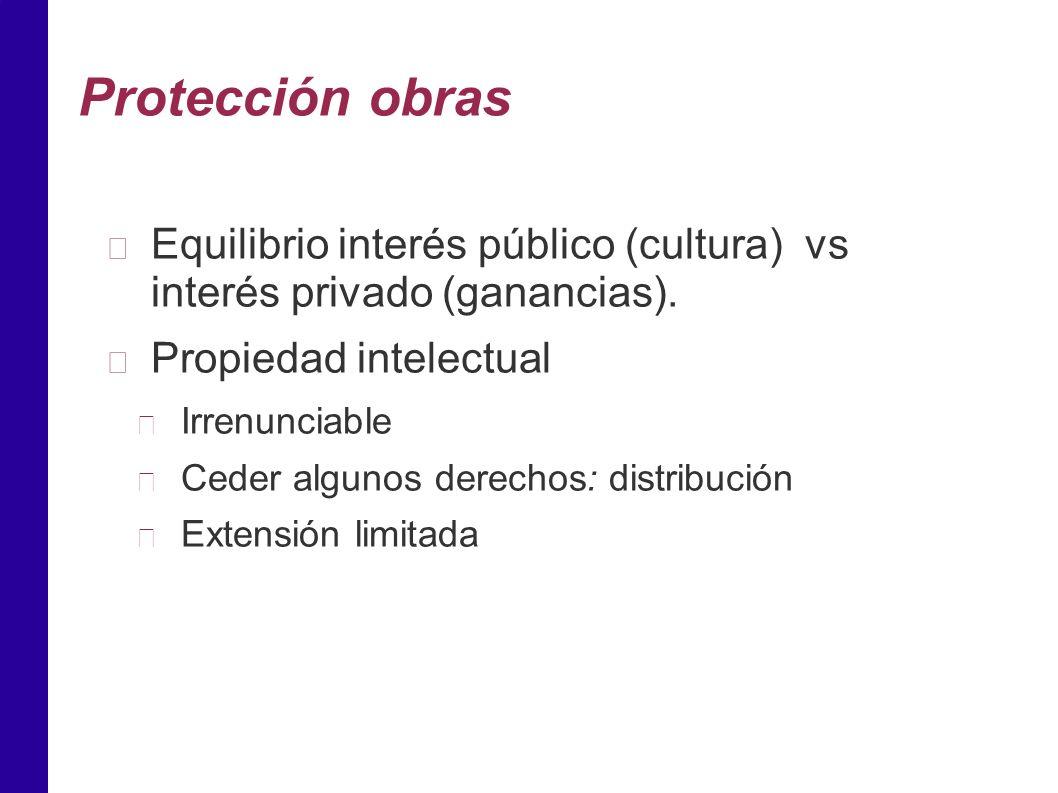Protección obras Equilibrio interés público (cultura) vs interés privado (ganancias).