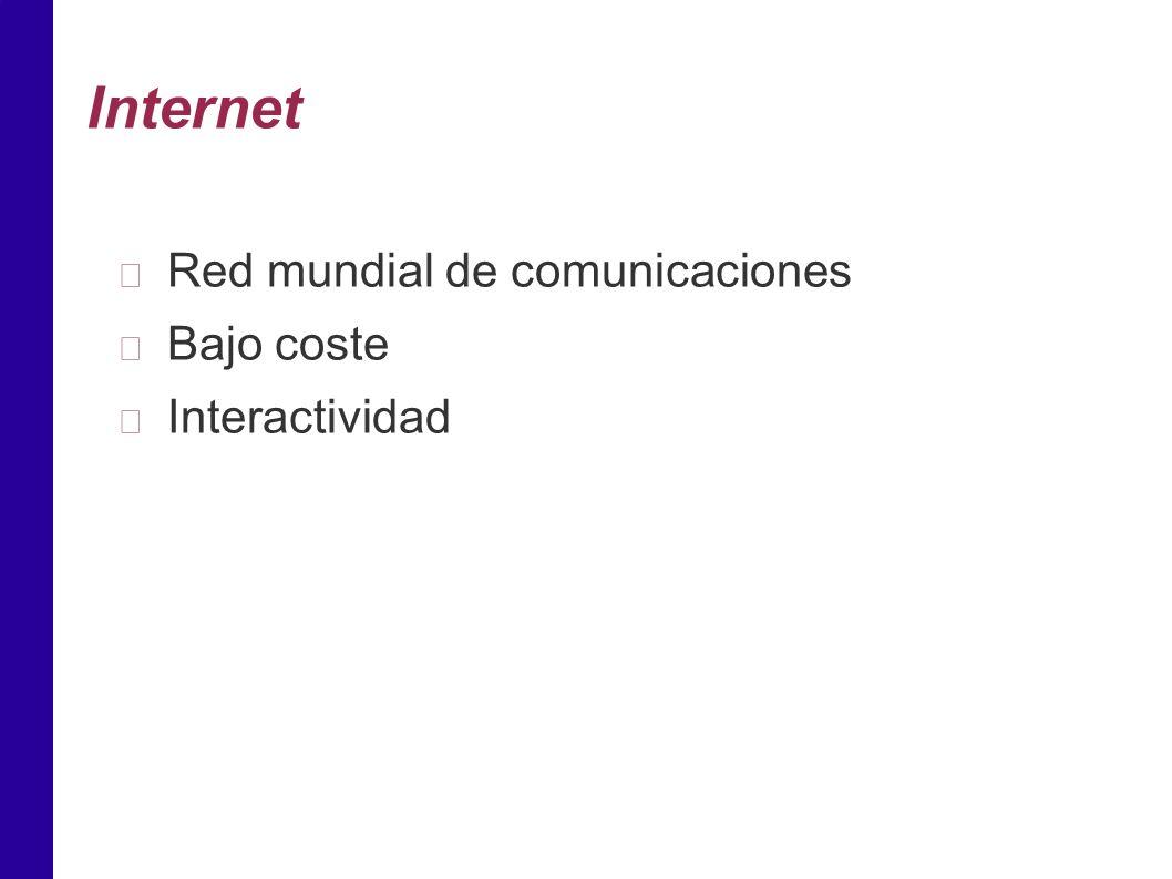 Internet Red mundial de comunicaciones Bajo coste Interactividad