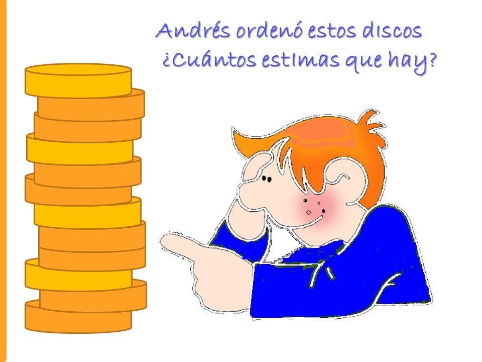 Veamos como lo hIzo Andrés ¿Cuántos dIscos son en total en total?