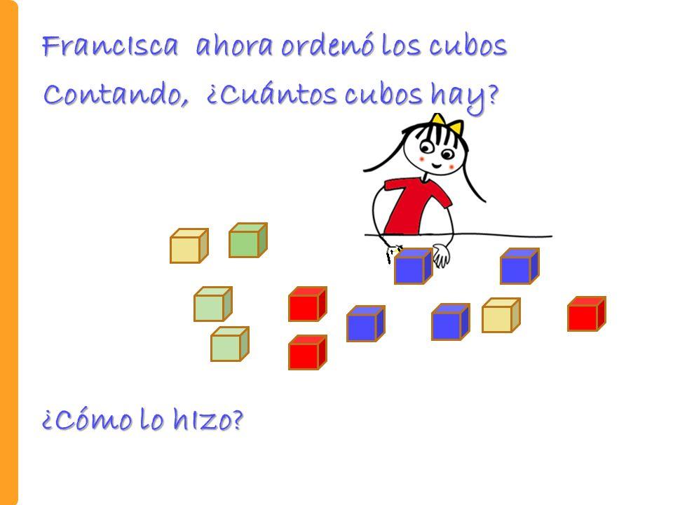 Contando, ¿Cuántos cubos hay? ¿Cómo lo hIzo? FrancIsca ahora ordenó los cubos