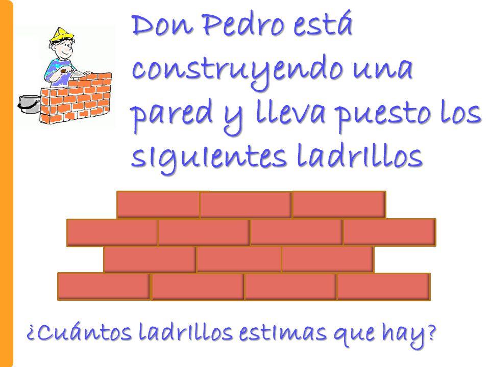 Don Pedro está construyendo una pared y lleva puesto los sIguIentes ladrIllos ¿Cuántos ladrIllos estImas que hay?