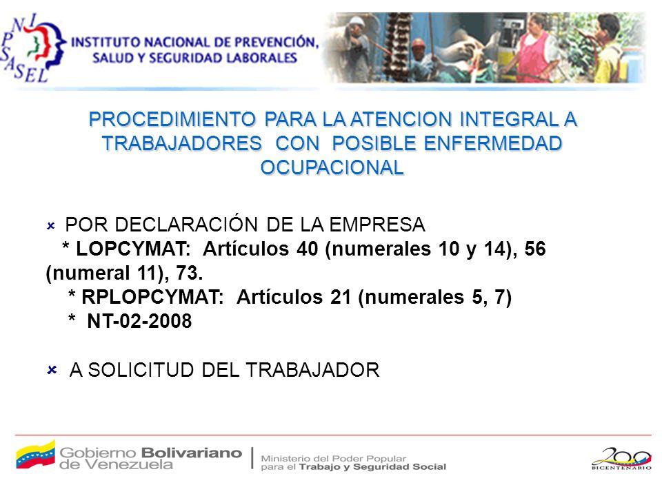 PROCEDIMIENTO PARA LA ATENCION INTEGRAL A TRABAJADORES CON POSIBLE ENFERMEDAD OCUPACIONAL POR DECLARACIÓN DE LA EMPRESA * LOPCYMAT: Artículos 40 (numerales 10 y 14), 56 (numeral 11), 73.