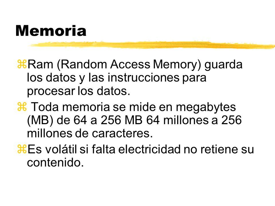 Memoria zRam (Random Access Memory) guarda los datos y las instrucciones para procesar los datos. z Toda memoria se mide en megabytes (MB) de 64 a 256