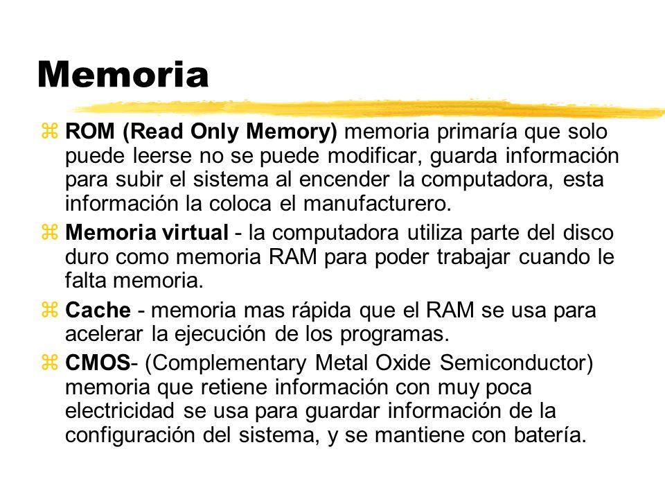 Memoria zROM (Read Only Memory) memoria primaría que solo puede leerse no se puede modificar, guarda información para subir el sistema al encender la