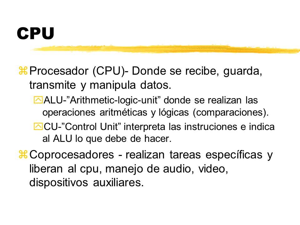 CPU zProcesador (CPU)- Donde se recibe, guarda, transmite y manipula datos. yALU-Arithmetic-logic-unit donde se realizan las operaciones aritméticas y