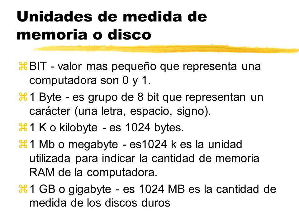 Unidades de medida de memoria o disco zBIT - valor mas pequeño que representa una computadora son 0 y 1. z1 Byte - es grupo de 8 bit que representan u