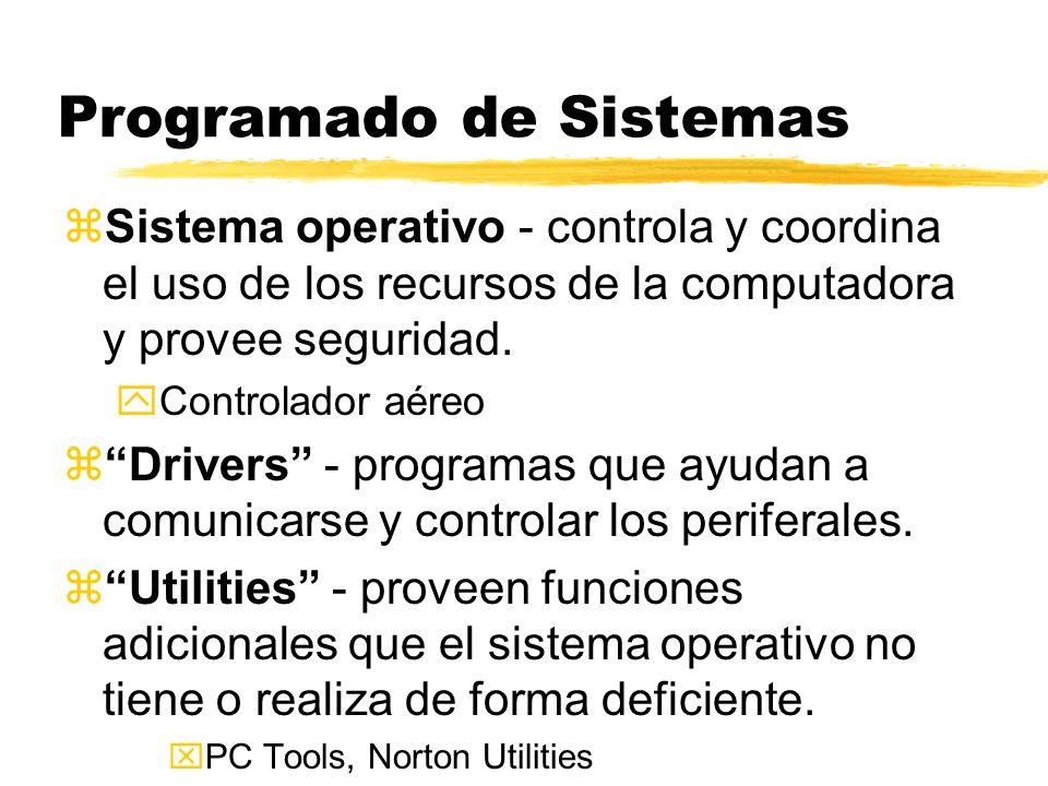Programado de Sistemas zSistema operativo - controla y coordina el uso de los recursos de la computadora y provee seguridad. yControlador aéreo zDrive