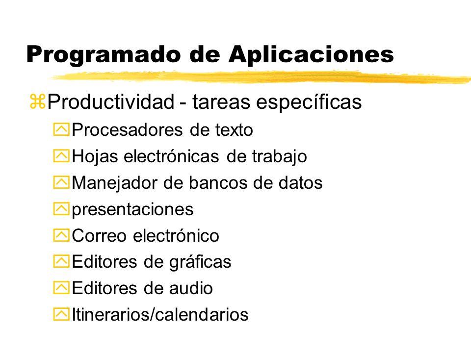 Programado de Aplicaciones zProductividad - tareas específicas yProcesadores de texto yHojas electrónicas de trabajo yManejador de bancos de datos ypr