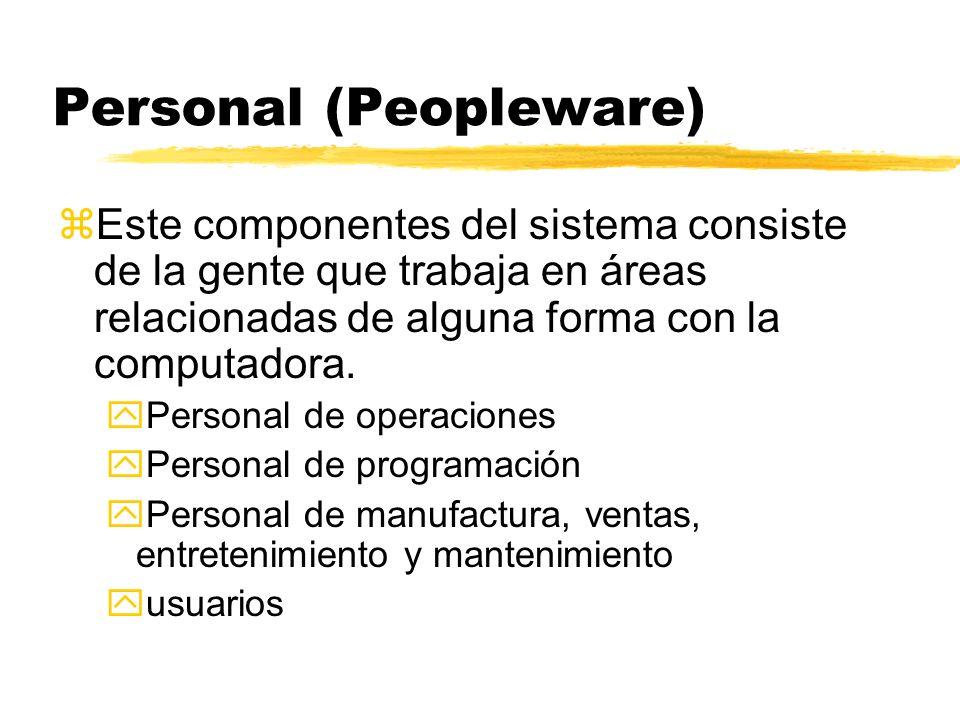 Personal (Peopleware) zEste componentes del sistema consiste de la gente que trabaja en áreas relacionadas de alguna forma con la computadora. yPerson