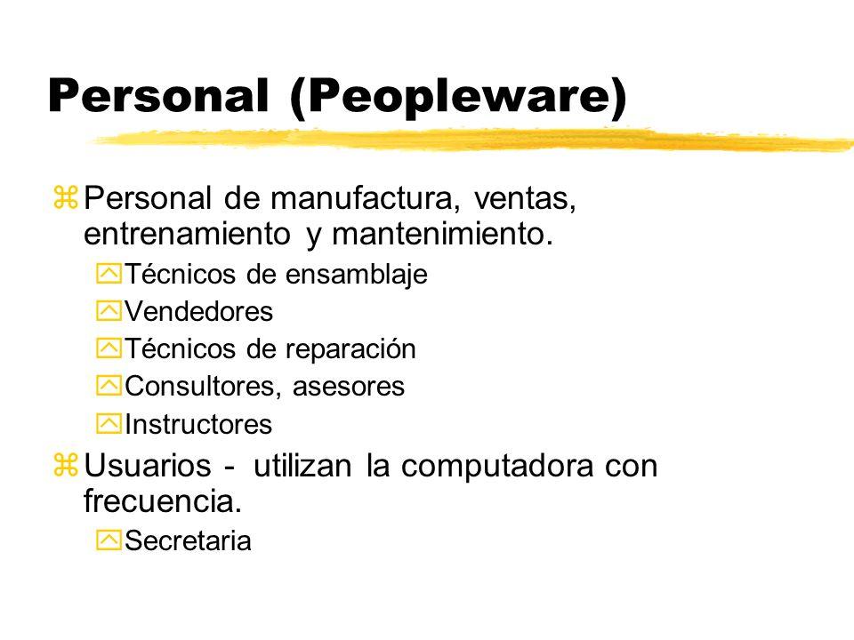 Personal (Peopleware) zPersonal de manufactura, ventas, entrenamiento y mantenimiento. yTécnicos de ensamblaje yVendedores yTécnicos de reparación yCo