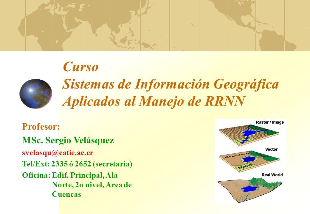 Curso Sistemas de Información Geográfica Aplicados al Manejo de RRNN Profesor: MSc. Sergio Velásquez svelasqu@catie.ac.cr Tel/Ext: 2335 ó 2652 (secret