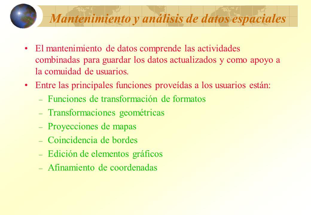 Mantenimiento y análisis de datos espaciales El mantenimiento de datos comprende las actividades combinadas para guardar los datos actualizados y como