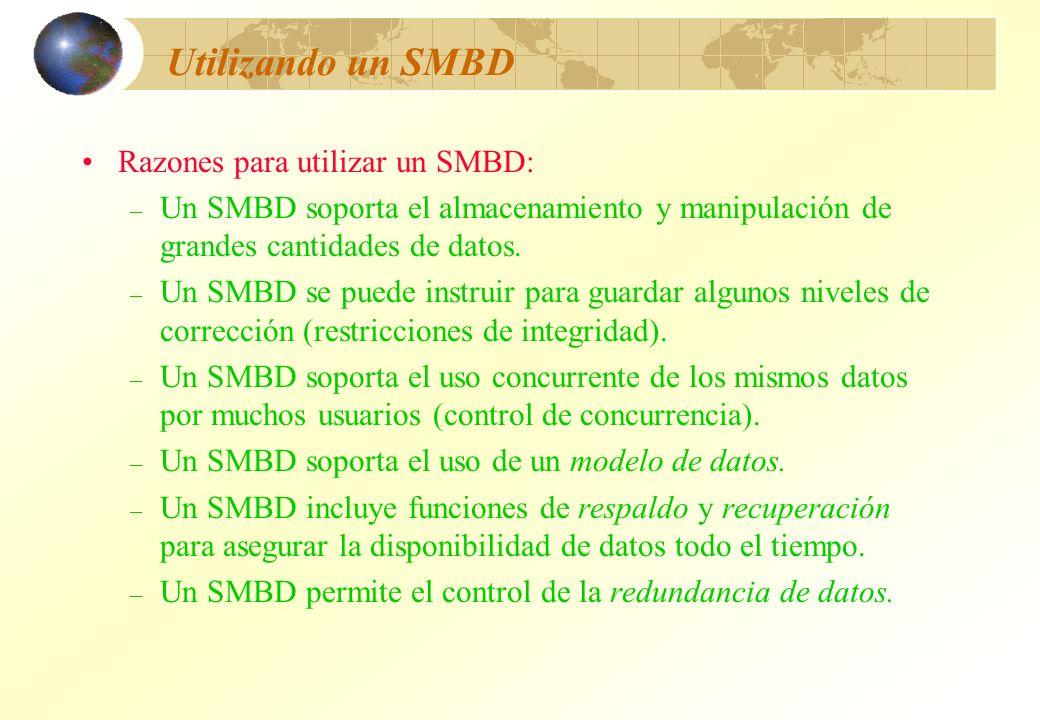 Utilizando un SMBD Razones para utilizar un SMBD: – Un SMBD soporta el almacenamiento y manipulación de grandes cantidades de datos. – Un SMBD se pued