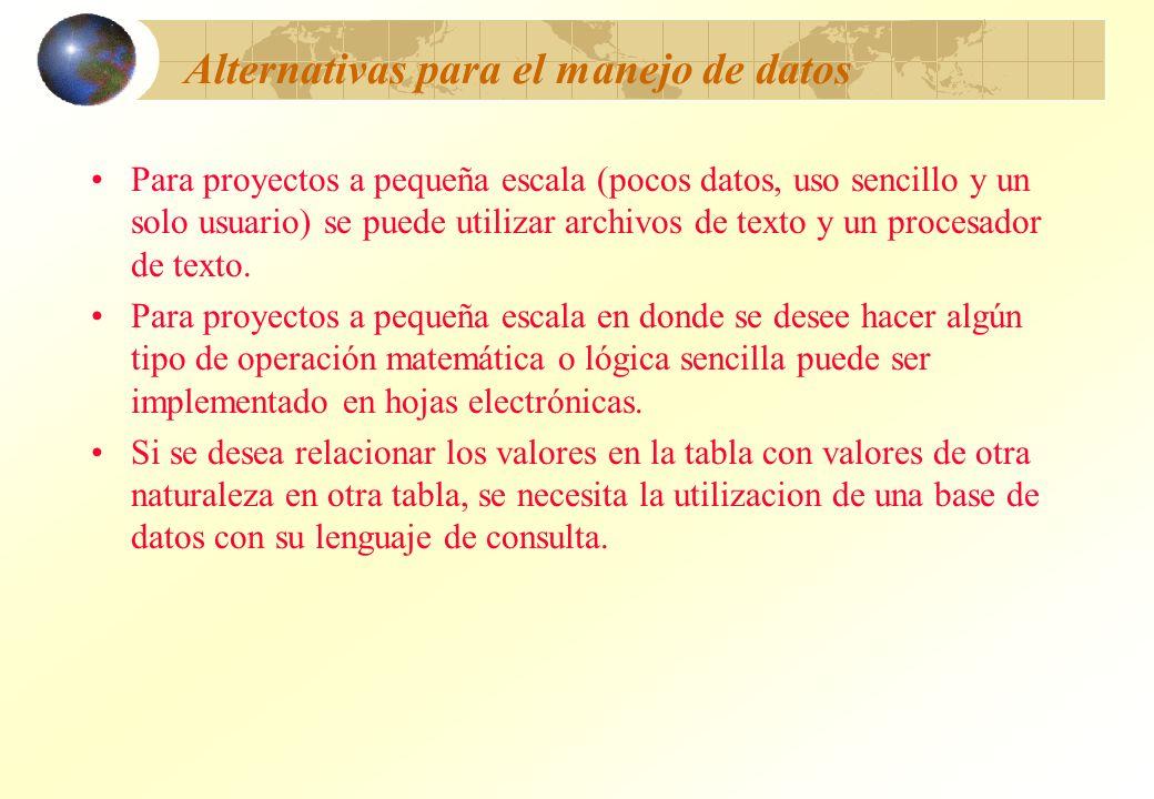 Alternativas para el manejo de datos Para proyectos a pequeña escala (pocos datos, uso sencillo y un solo usuario) se puede utilizar archivos de texto
