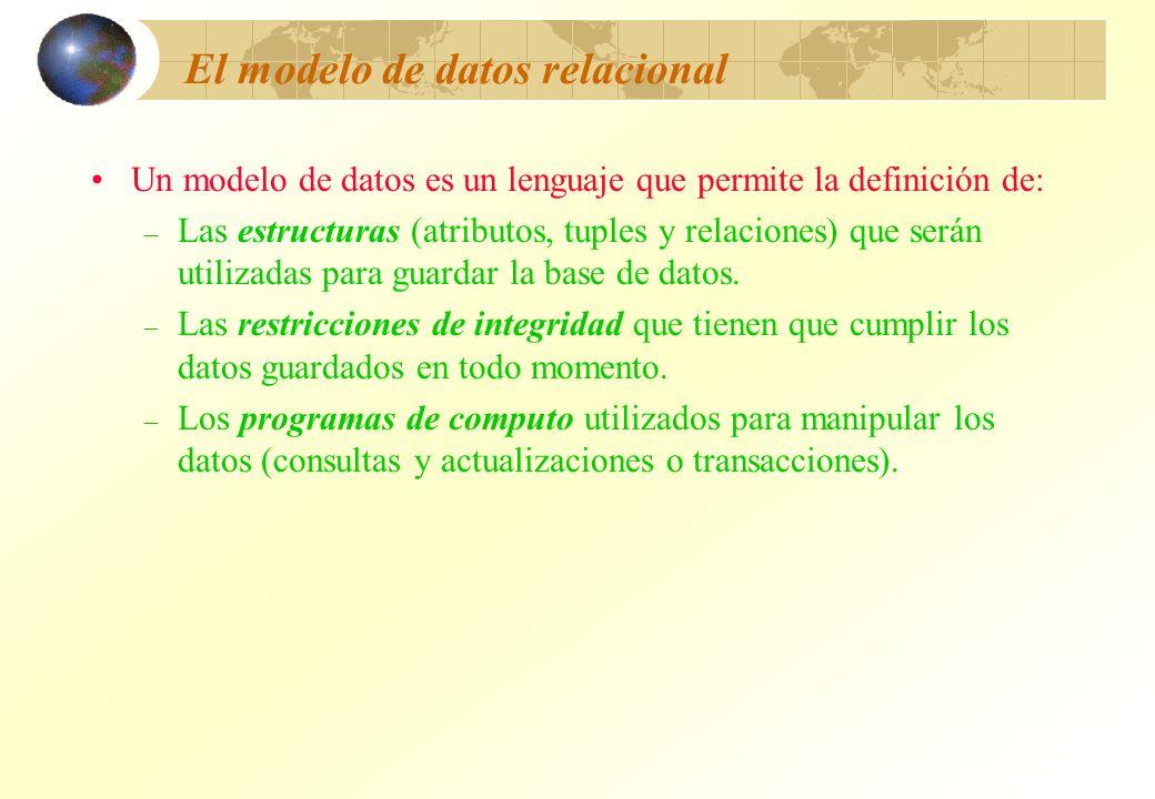 El modelo de datos relacional Un modelo de datos es un lenguaje que permite la definición de: – Las estructuras (atributos, tuples y relaciones) que s