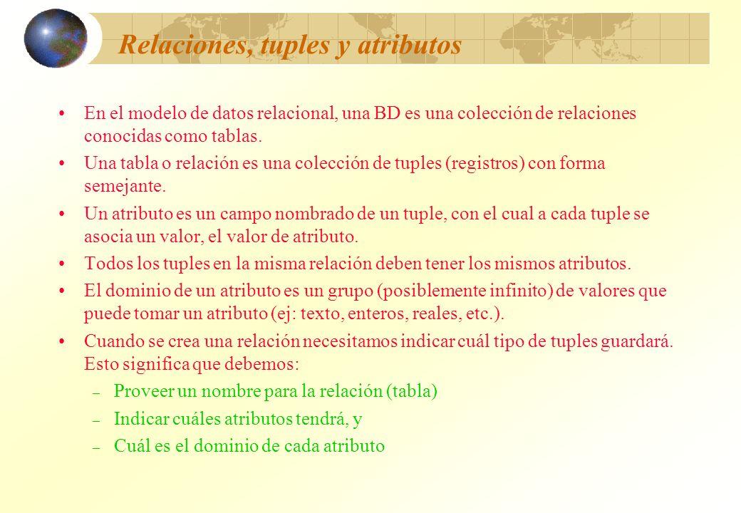 Relaciones, tuples y atributos En el modelo de datos relacional, una BD es una colección de relaciones conocidas como tablas. Una tabla o relación es