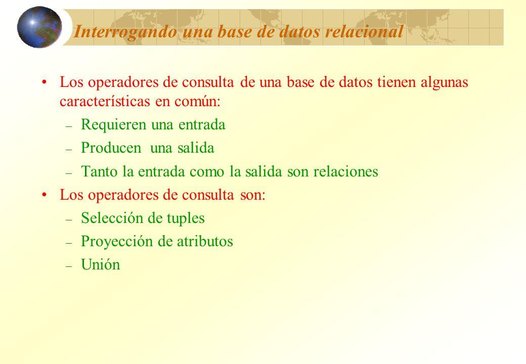 Interrogando una base de datos relacional Los operadores de consulta de una base de datos tienen algunas características en común: – Requieren una ent