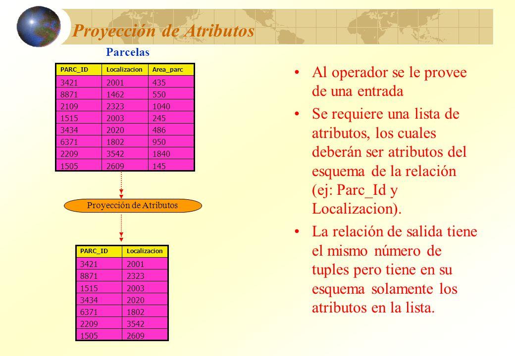 Proyección de Atributos Al operador se le provee de una entrada Se requiere una lista de atributos, los cuales deberán ser atributos del esquema de la