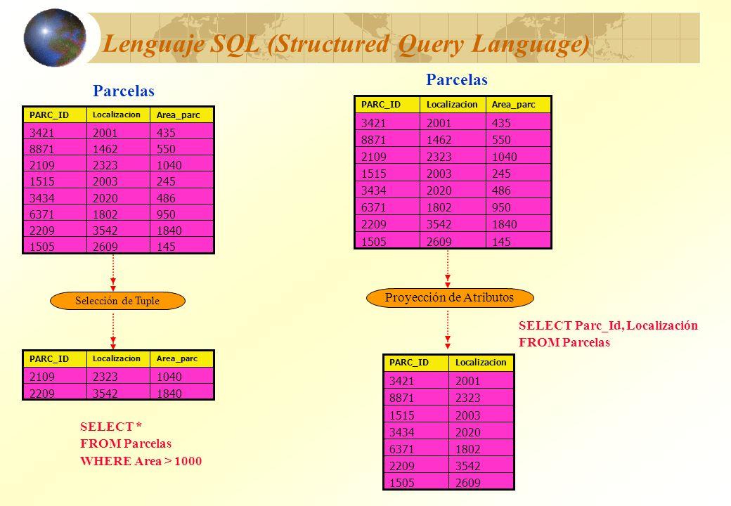 Lenguaje SQL (Structured Query Language) SELECT Parc_Id, Localización FROM Parcelas 14526091505 184035422209 95018026371 48620203434 104023232109 2452