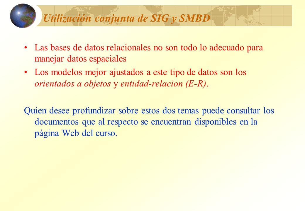 Utilización conjunta de SIG y SMBD Las bases de datos relacionales no son todo lo adecuado para manejar datos espaciales Los modelos mejor ajustados a