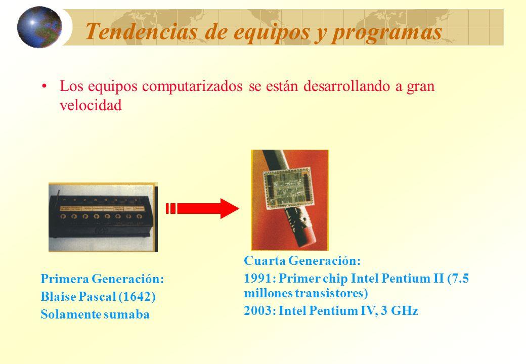 Tendencias de equipos y programas Los equipos computarizados se están desarrollando a gran velocidad Primera Generación: Blaise Pascal (1642) Solament