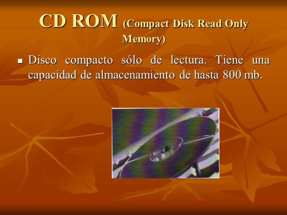 CD ROM (Compact Disk Read Only Memory) Disco compacto sólo de lectura. Tiene una capacidad de almacenamiento de hasta 800 mb. Disco compacto sólo de l