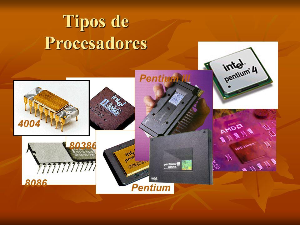 Tipos de Procesadores 8086 80386 Pentium Pentium III 4004