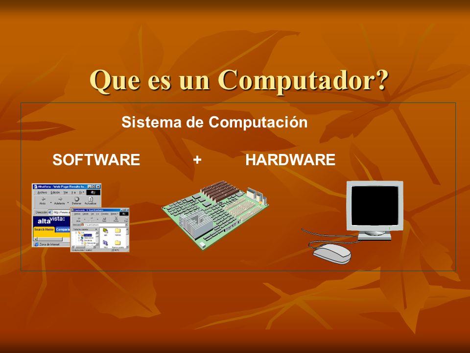 Que es un Computador? Sistema de Computación SOFTWARE + HARDWARE