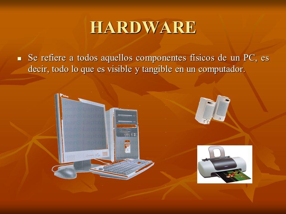 HARDWARE Se refiere a todos aquellos componentes físicos de un PC, es decir, todo lo que es visible y tangible en un computador. Se refiere a todos aq